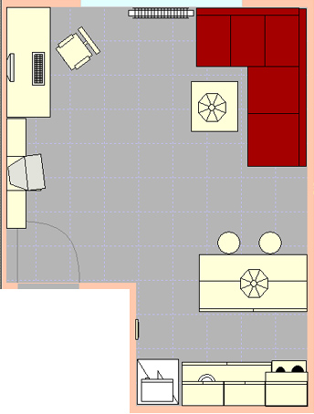 Pohled na náš obývák z pohledu Room Arangeru 3D