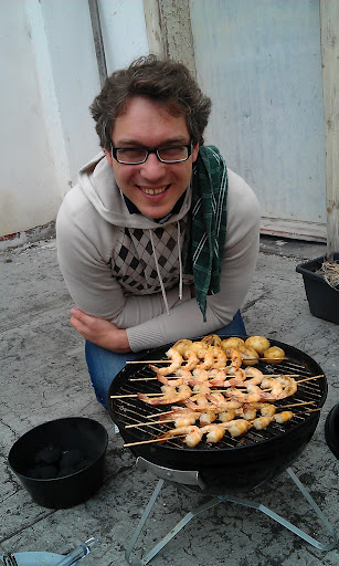 Grilované krevety na střeše v Holeškách