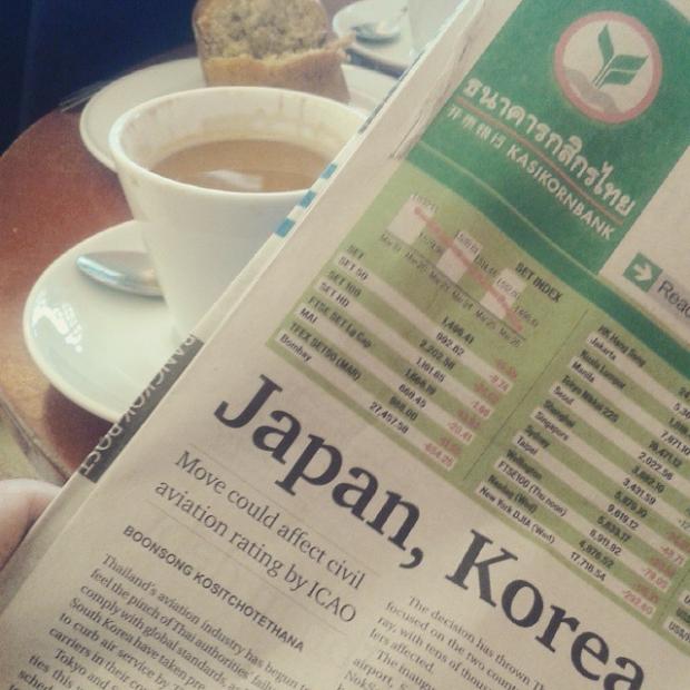 Fotka od Ferdika. Pisou ze do Japonska a Korei nebudou poustet nektere Thai aerolinky. No potes